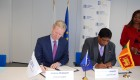 Finance Minister Ravi Karunanayake and Vice President of the European Investment Bank Andrew McDowell sign a Euro 50 million Financing Agreement for the Greater Colombo Wastewater Management Project at the Bank Office in Brussels on 20.01.2017