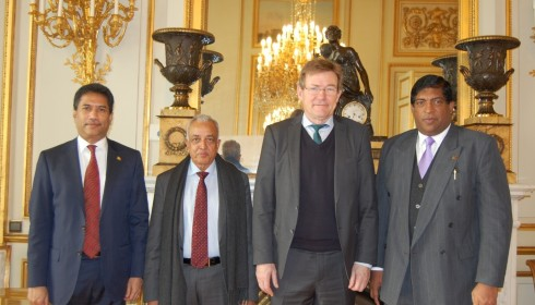 Finance Minister Ravi Karunanayake and Development Strategies & International Trade Minister Malik Samarawickrama meet Belgian Finance Minister  Johan Van Overtveldt on 20.01.2017